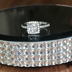 Jewelry - Sterling Silver Princess CZ halo ring